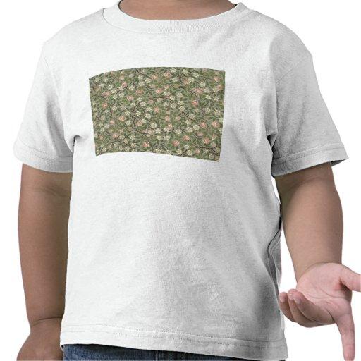 Pequeño diseño del papel pintado de la flor rosada camiseta