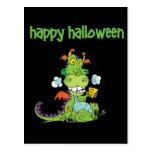 Pequeño dragón verde lindo de Halloween Postales