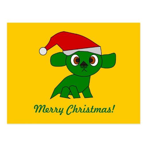 Pequeño dragón verde lindo del navidad tarjetas postales
