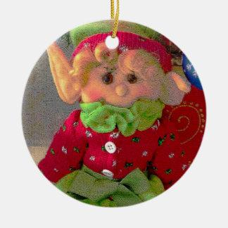 Pequeño duende lindo del chica del navidad ornatos
