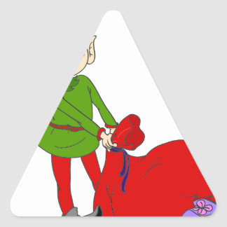 Pequeño duende pegatina triangular