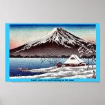 Pequeño edificio nevado en la costa poster