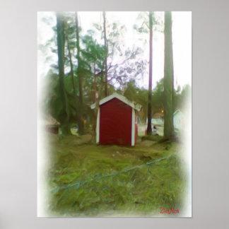 Pequeño edificio rojo impresiones