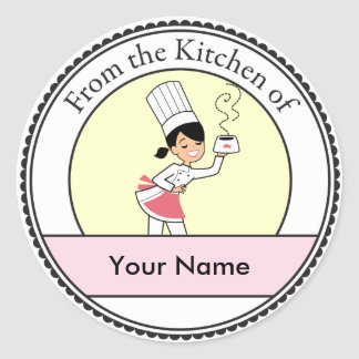 Pequeño ejemplo del cocinero en etiqueta redonda