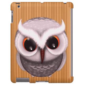 Pequeño ejemplo gruñón del búho de cuernos funda para iPad