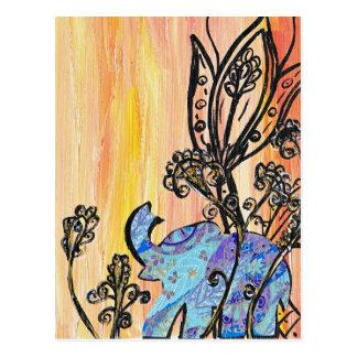 Pequeño elefante azul postal