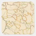 Pequeño esquema francés de los ríos pegatina cuadrada