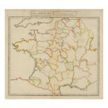 Pequeño esquema francés de los ríos póster