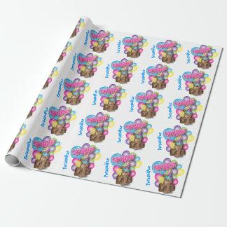 Pequeño feliz cumpleaños lindo del mono el | papel de regalo