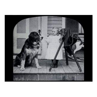 Pequeño fotógrafo y su vintage de St Bernard Postal
