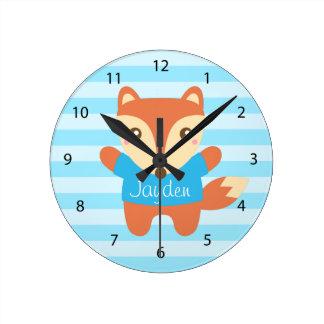Pequeño Fox lindo para el sitio de los niños Reloj De Pared