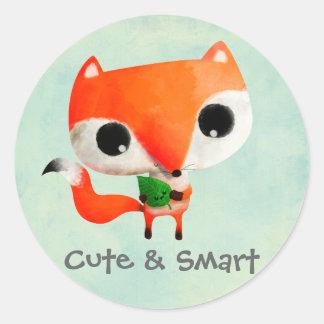 Pequeño Fox lindo Pegatinas Redondas