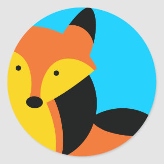 Pequeño Fox lindo Pegatina Redonda
