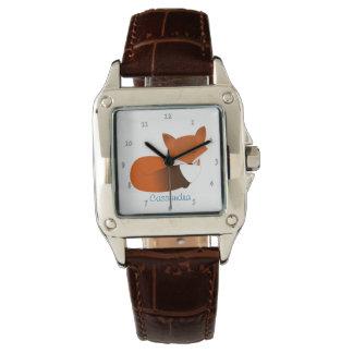 Pequeño Fox rojo tímido personalizado Relojes De Pulsera