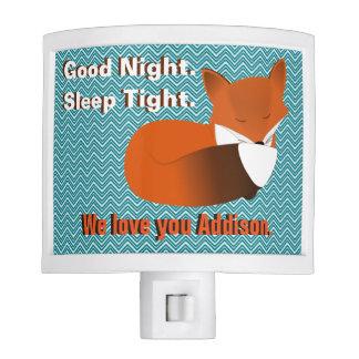 Pequeño Fox soñoliento personalizado Luces De Noche