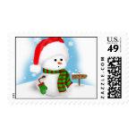 Pequeño franqueo del navidad del muñeco de nieve