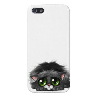Pequeño gatito triste con los ojos verdes enormes iPhone 5 carcasas