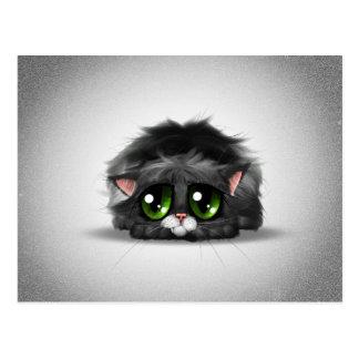 Pequeño gatito triste y solo con los ojos verdes e tarjetas postales