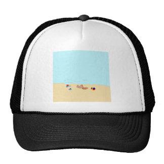 Pequeño gato en la playa gorros bordados