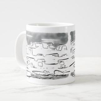 Pequeño gato perdido en la ciudad ocupada taza de café grande