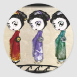 Pequeño geisha pegatina redonda