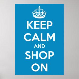 Pequeño guarde la calma y haga compras en el poste poster