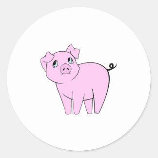 Pequeño guarro lindo (cerdo del bebé) - negro pegatina redonda