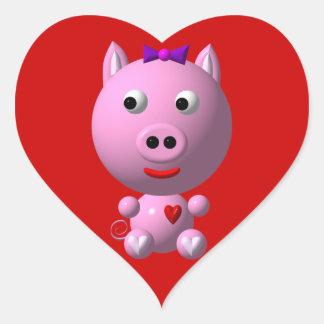 ¡Pequeño guarro lindo con los corazones y el arco! Pegatina En Forma De Corazón