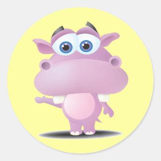 pequeño hipopótamo triste lindo etiqueta redonda