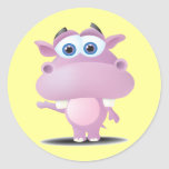 pequeño hipopótamo triste lindo pegatina redonda