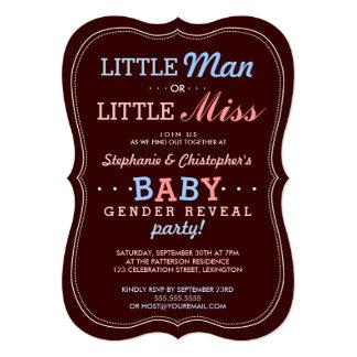 """Pequeño hombre o pequeña Srta. Baby Gender Reveal Invitación 5"""" X 7"""""""