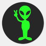 Pequeño hombre verde etiqueta redonda