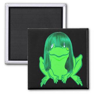 pequeño imán de la peluca de la rana verde w/green