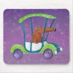Pequeño individuo lindo en coche lindo alfombrillas de raton