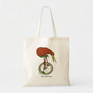 Pequeño kiwi de Brown en un Unicycle rojo Bolsa Tela Barata