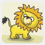 Pequeño león lindo pegatina cuadrada