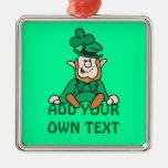 Pequeño Leprechaun - añada su propio texto Ornamente De Reyes