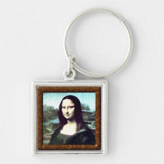 Pequeño llavero cuadrado de Mona Lisa