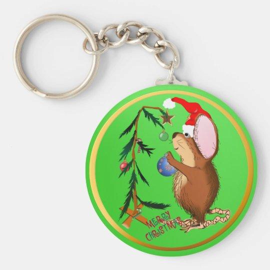 Pequeño llavero del ratón del navidad