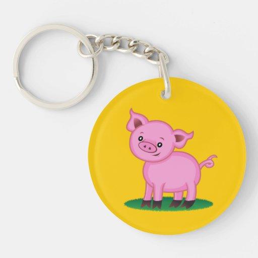 Pequeño llavero lindo del acrílico del cerdo