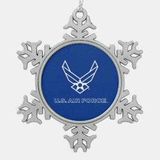 Pequeño logotipo azul de la fuerza aérea con el adorno de peltre en forma de copo de nieve