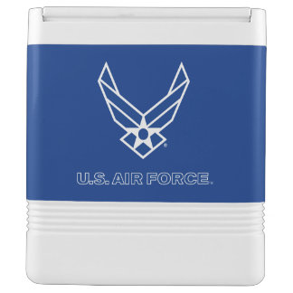 Pequeño logotipo azul de la fuerza aérea con el hielera igloo
