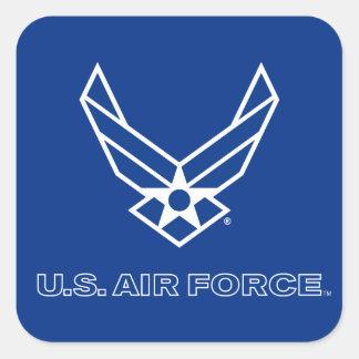 Pequeño logotipo azul de la fuerza aérea con el pegatina cuadrada
