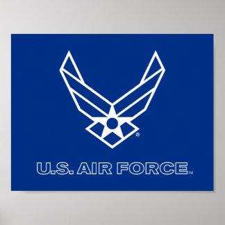 Pequeño logotipo azul de la fuerza aérea con el póster