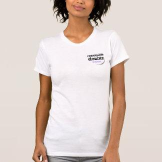 Pequeño logotipo de las dudas razonables en blanco camiseta
