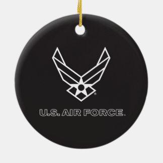 Pequeño logotipo negro de la fuerza aérea con el adorno navideño redondo de cerámica