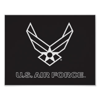 Pequeño logotipo negro de la fuerza aérea con el póster