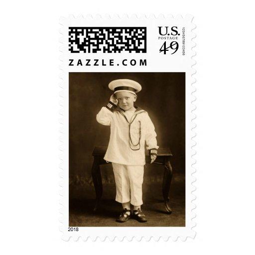 Pequeño marinero del vintage sellos