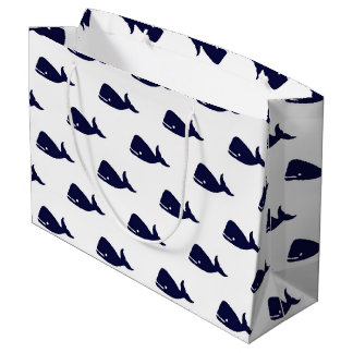 Pequeño modelo lindo de la ballena de azules bolsa de regalo grande
