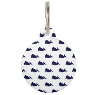 Pequeño modelo lindo de la ballena de azules placas para mascotas